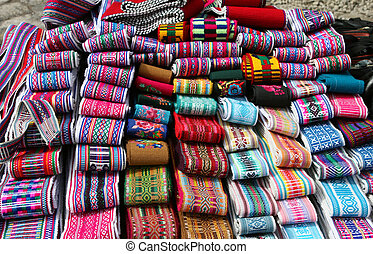 Beautiful woven belts for sale in a market in Ecuador