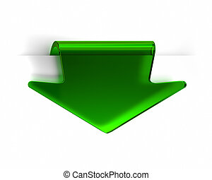 Green Arrow - Green glass top arrow page tab. Part of a...