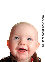 Cute happy baby looking up with room for text, isolated on...