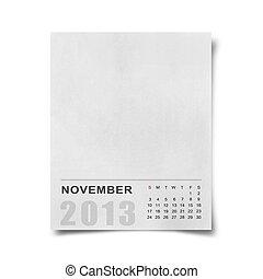 Calendário, 2013, em branco, nota, papel