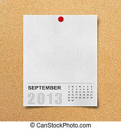 calendrier, 2013, vide, note, papier