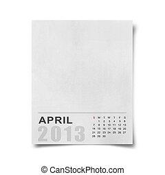 Calendar 2013 on blank note paper . - Calendar 2013 on blank...
