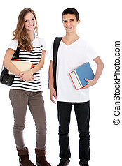Teenage boy and girl with college books