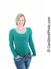 Sexy young blonde woman - Three quarter studio portrait of a...