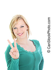Beautiful woman giving a V-sign - Beautiful smiling friendly...