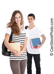 Smiling High School Students on White Background - Two...