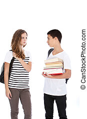 Two Teenagers on White Background Talking - Teenage boy and...