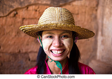 casual myanmar girl with a hat