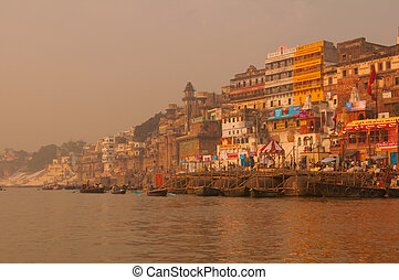 Ghats in ancient city of Varanasi, India