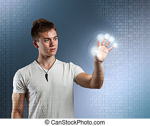 Young man with interface - Young man with touch screen...