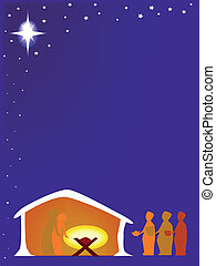 Away in a Manger - The birth of Jesus with the star and the...
