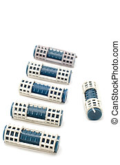 Blue hair-rollers - object on white - colored haircurlers
