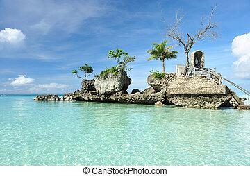 Rock on a beach - Willy's rock on a beach at Boracay,...