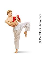 homem, treinamento, taekwondo