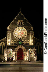 Christchurch Cathedral - Frontal shoot of the night view of...