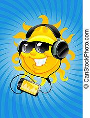 cartoon sun with headphone - cartoon sun liseten music with...