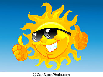 cartoon sun in sunglasses - happy cartoon sun in sunglasses...