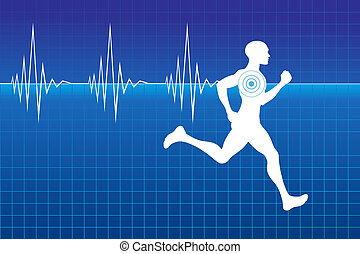 Pulse of running athlete - Running athlete on monitor with...