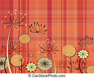 Tartan flowers - Illustration of generic umbellifer flowers...