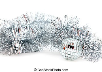 mirror ball and garland - Christmas decorations: a mirror...