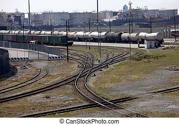 Freight trains in port - Industrial port with freight trains