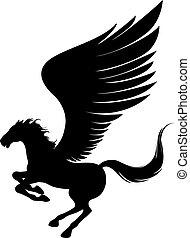 Flying pegasus - Power pegasus with wings. Vector...