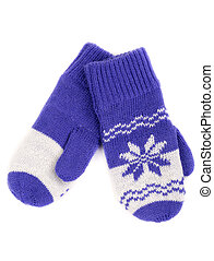 pair of knitted mittens with pattern snowflake Isolate on...