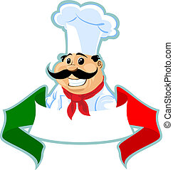 italian chef cook label - chef cook label with italian...
