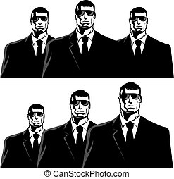 Men in black - Three men in black suits. The secret service...