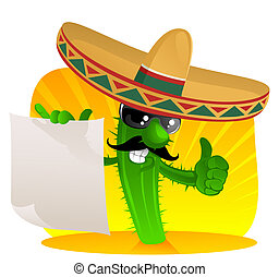 mexican cactus with scroll - cactus in sombrero shows a...