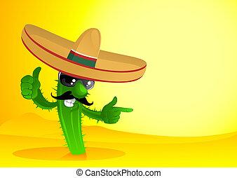 Mexican cactus - happy cactus in desert