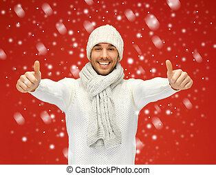 guapo, hombre, tibio, suéter, nieve