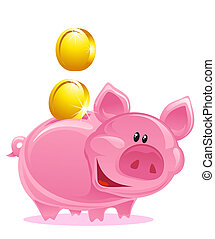 Piggy Bank - Cute Piggy Bank With Gold Coins