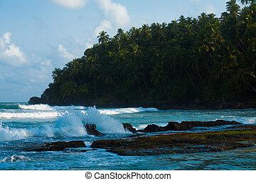 Mirissa Headland Beach Surf Waves Breaking Rocks