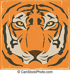 Vintage Tiger Stripes On Grunge Background - Illustration of...