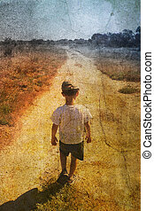 child on the road - Vintage picture of a young child on the...
