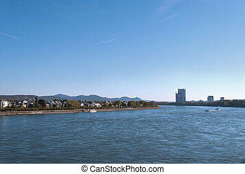 Bonn - View on the river Rhein and Siebengebirge lit seven...