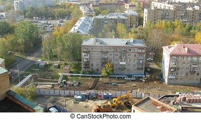 Building site in district Bogorodskoe in Moscow, time lapse