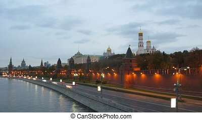 Lanterns were lit on Kremlin embankment in evening, time...