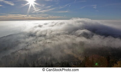 View on the sun over inversion from Jested, Jested-Kozakov...