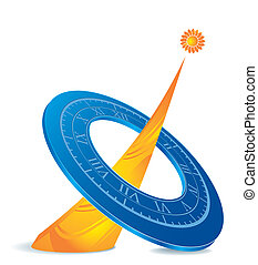 sundial icon - icon as blue sundial with orange sun