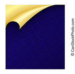 Blue Paper with Vintage Texture and Curled Golden Corner -...