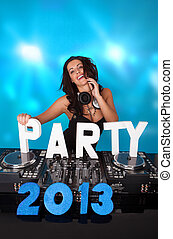 Vivacious DJ with PARTY 2013 in text