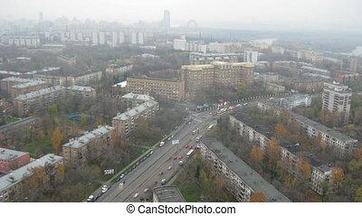 Cars go on highway in district of Moscow - Shchukino, time...