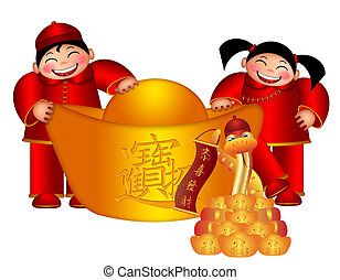 2013 Chinese Boy and Girl Holding Big Gold Bar with Gold...