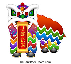 Chinese Lion Dance Full Body Illustration - Chinese Lion...