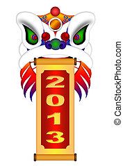 Chinese Lion Dance Head with New Year 2013 Scroll - Chinese...