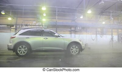 car jeep washes in car wash in pair from hot water