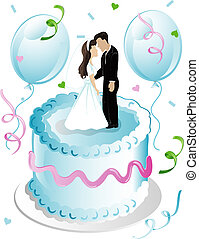 Weddng cake and balloons - Illustration of wedding cake and...