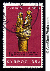 Cyprus , gold sceptre from Curium - CYPRUS - CIRCA 1966: A...